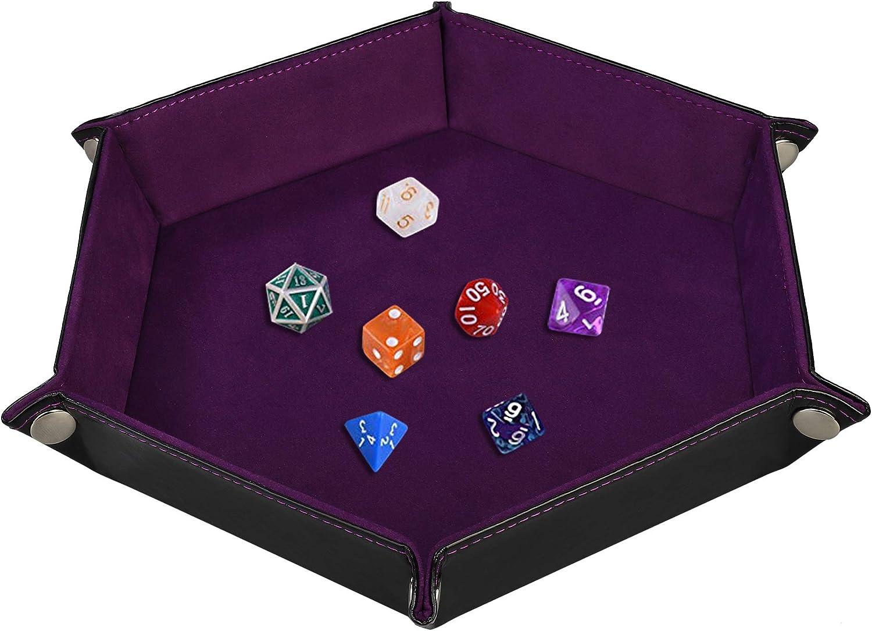 Tablero de Dados de Doble Cara, Plegables de Cuero de PU y sostenedor de Dados de Terciopelo Violeta Oscuro para Mazmorras y Dragones Juego de Dados RPG D & D y Otros Juegos de Mesa