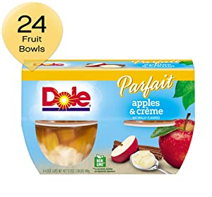 DOLE FRUIT BOWLS Low Fat Apples and Crème Parfait, 4 Cups (6 Pack)