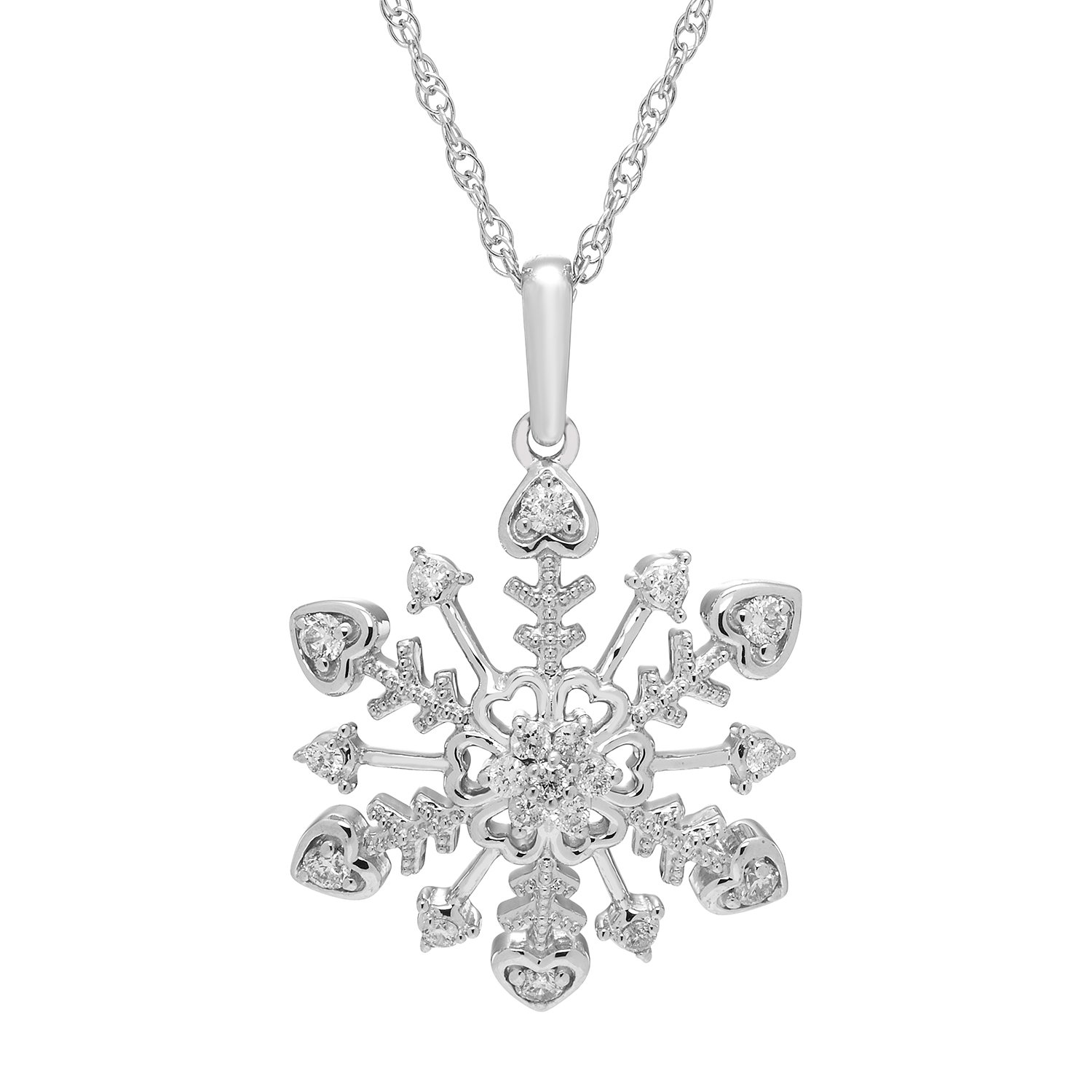 925 Sterling Silver 1/4 Cttw. Diamond Snowflake Pendant Necklace with 18'' Chain
