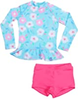 Baby Girls Kids 2 Piece Long Sleeve Floral UV Sun Protection Rash Guards Swimsuit