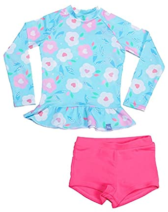 5e2e4b85cbe1b Image Unavailable. Image not available for. Color  Little Girls Kids 2 Piece  Long Sleeve Swimwear Floral UV Sun Protection Rash Guards Swimsuit Bathing