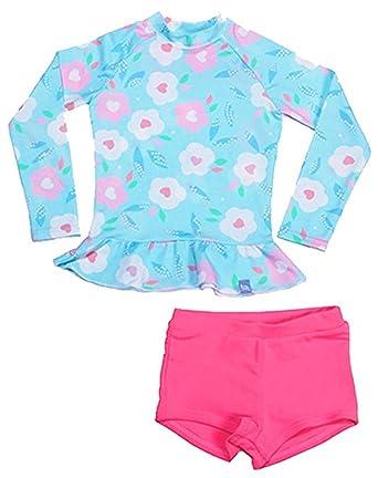 1eb1cc9c79c6a Amazon.com: Little Girls Kids 2 Piece Long Sleeve Swimwear Floral UV Sun  Protection Rash Guards Swimsuit Bathing Suits: Clothing