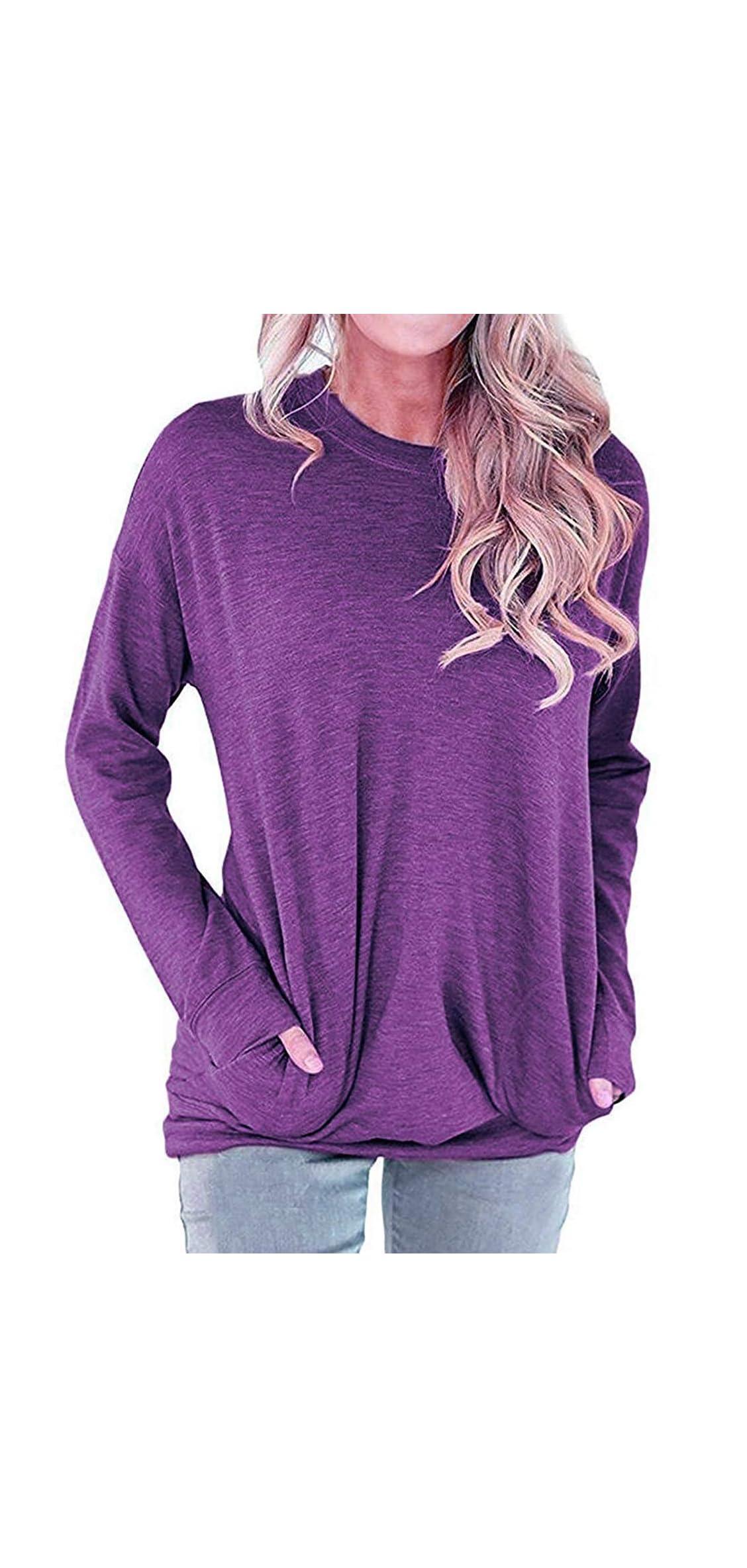 Womens Long Sleeve Sweatshirt Loose T-shirt Blouses