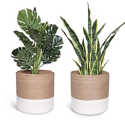 Smoofy 2 PCS Modern Woven Basket, Cotton Rope Plant Basket for 10 Inch Flower Pot Floor Indoor Planters, Storage Organizer Rustic Home Decor, White Beige Stripes, 11 Inch x 11 Inch(No Plant) : Garden & Outdoor