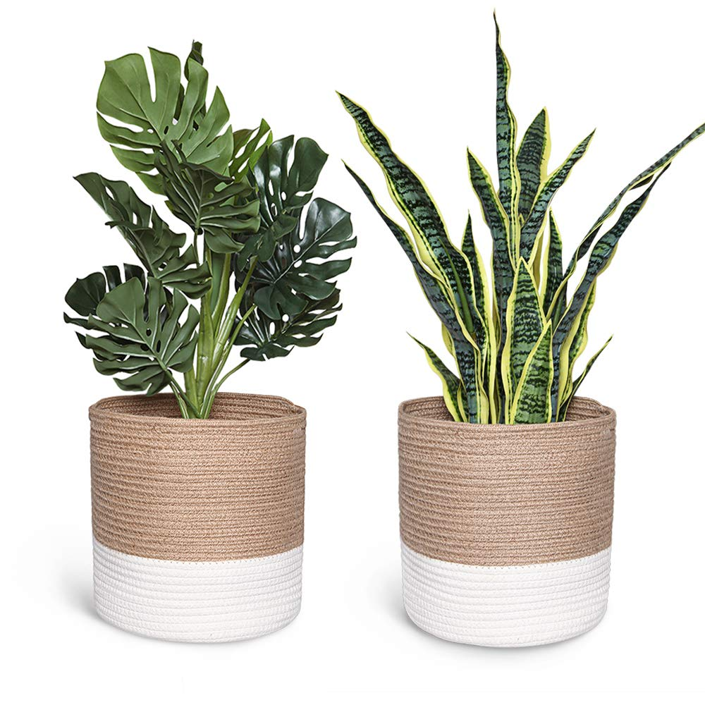 Smoofy 2 PCS Modern Woven Basket, Cotton Rope Plant Basket for 10 Inch Flower Pot Floor Indoor Planters, Storage Organizer Rustic Home Decor, White Beige Stripes, 11 Inch x 11 Inch No Plant