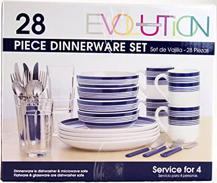 Todayu0027s Home Evolution Blue-striped Dinnerware Sets 28 Pieces Sturdy Stoneware Service for 4  sc 1 st  Amazon.com & Amazon.com | Todayu0027s Home Evolution Blue-striped Dinnerware Sets 28 ...