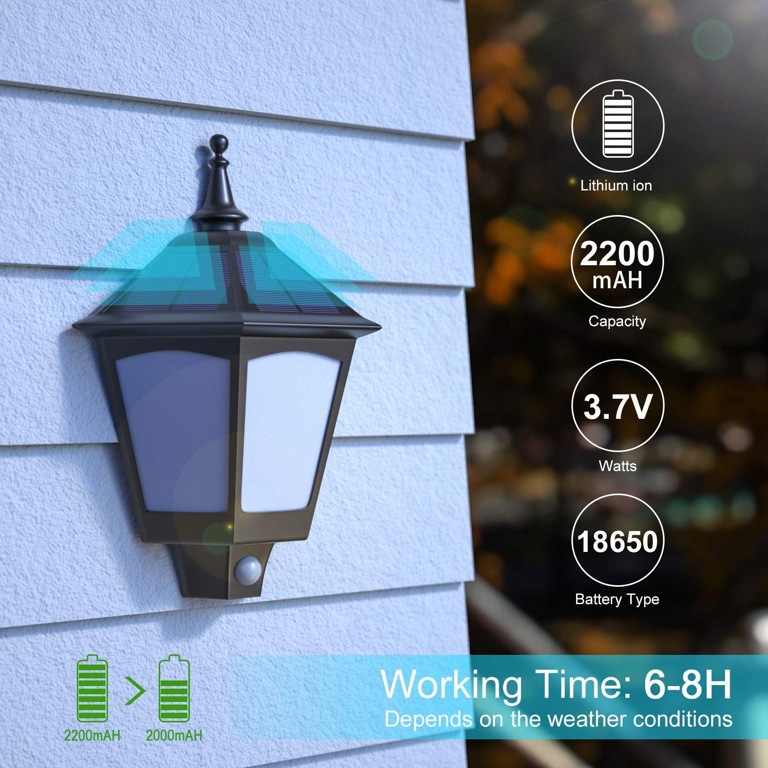 B-right BD003J12CT-BK*2 2 Pack Solar Sconces with Flickering Flame,Wireless Waterproof Wall Mounted Solar Lights for Porch Solar Lights Outdoor Decorative 2 in 1 Motion Sensor Solar Wall Lights Outdoor
