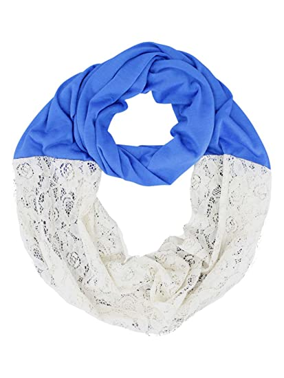 Royal Blue Jersey Knit Lace Lightweight Circle Infinity Scarf At