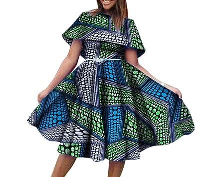 Highisa Women\'s Mini Plus Size African Print Pleated Waist Fashion ...