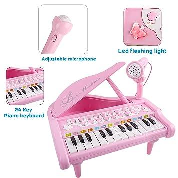 OENLY Mini Piano Teclado Teclado Piano Grand 24 Clave Juguetes Regalo con microfono para Instrumentos Musicales para niños Regalo de cumpleaños Rosa Bebé ...