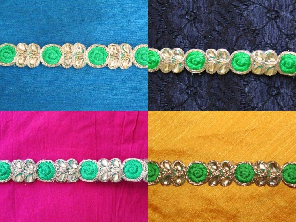 09 yards of green scarf dress border kundan embellishment by iDukaancrafts