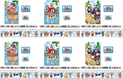 KINPARTY ® - 6 Pack de material escolar de Piratas - Incluye: 1 ...