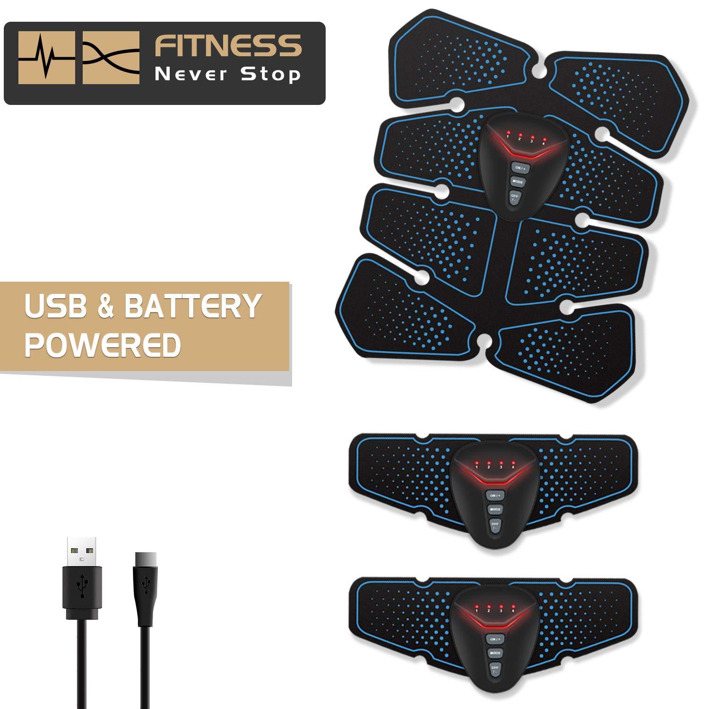 NOWKIN EMS Electroestimulador Muscular Abdominales, Recargable Entrenador Muscular con USB, Masajeador Eléctrico Cinturón para ...