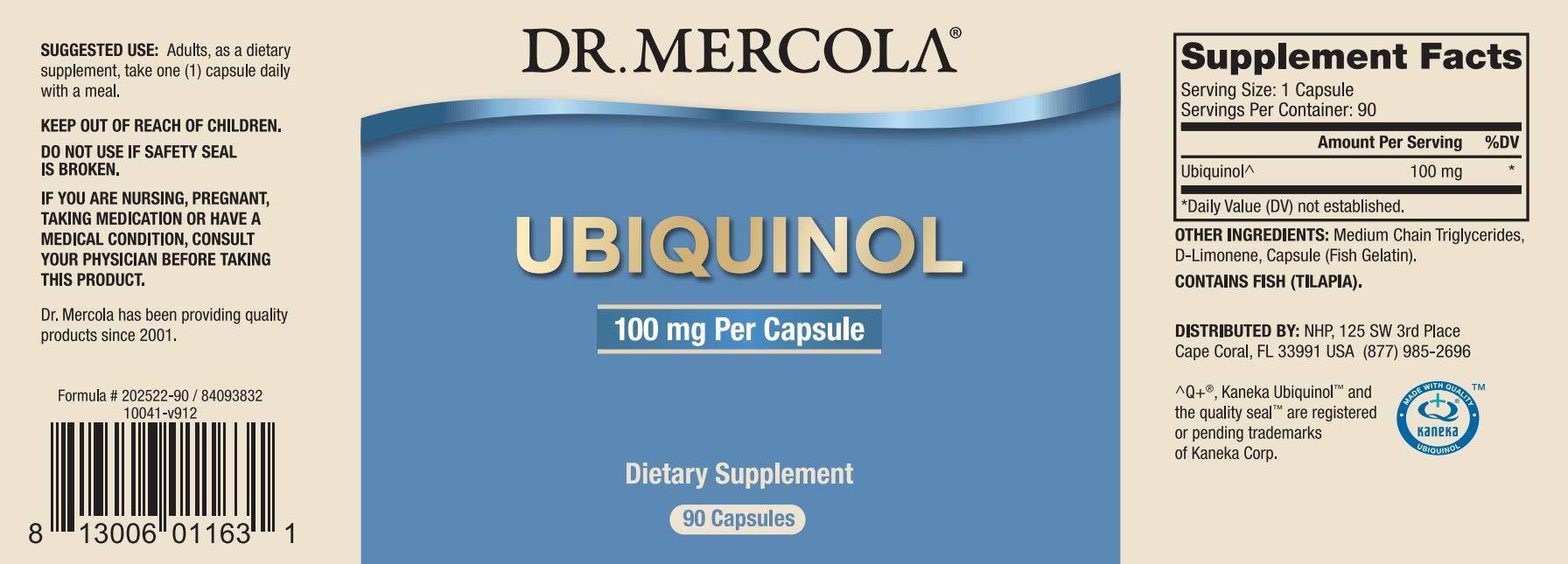 Dr. Mercola, Ubiquinol 100 mg, 90 Servings (90 Capsules), Non GMO, Soy-Free, Gluten Free