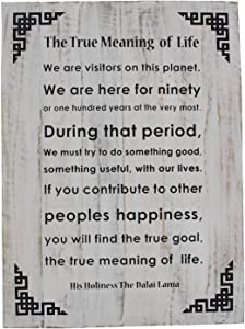 DharmaObjects Dalai Lama Quotes ~ Natural Wooden ~ The True Meaning of Life ~ Inspirational Message Wall Decor Hanging (The True Meaning of Life)
