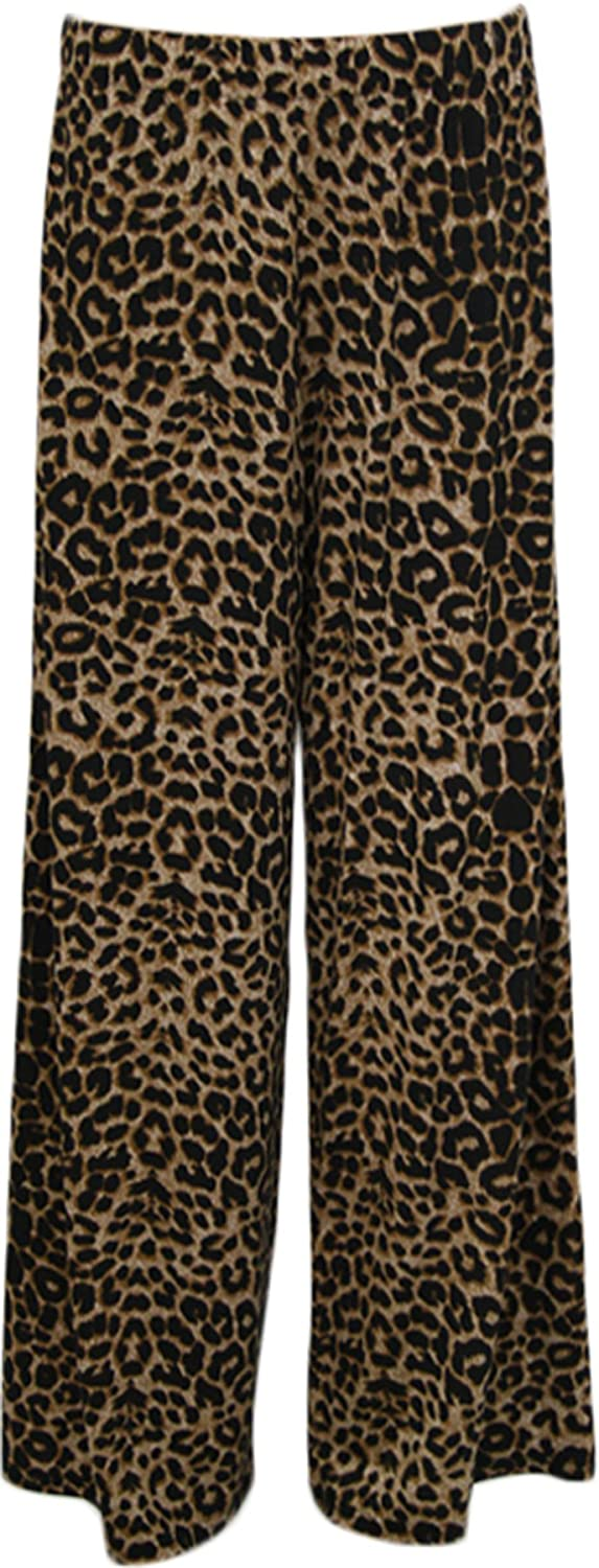 WearAll Womens Animal Leopard Print Palazzo Wide Leg Trousers