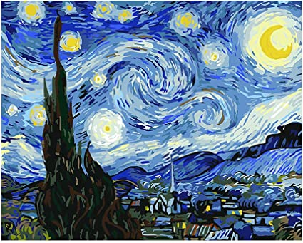 Amazon Com Paint By Numbers For Adults By Banlana Diy Adult Paint By Number Kits For Beginners On Canvas Rolled 16 By 20 Van Gogh The Starry Night