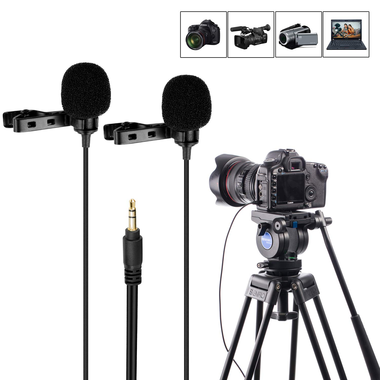 7.8ft Dual-head Lavalier Microphone, Mouriv TRS Lapel Clip-on Omnidirectional Condenser Mic Interview Microphone for DSLR Camera,Sony Canon Nikon,Camcorder,PC for Youtube,Interview,Video, Podcast