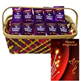Bunch of Dairy milk with Fancy Basket With Diwali Greetings