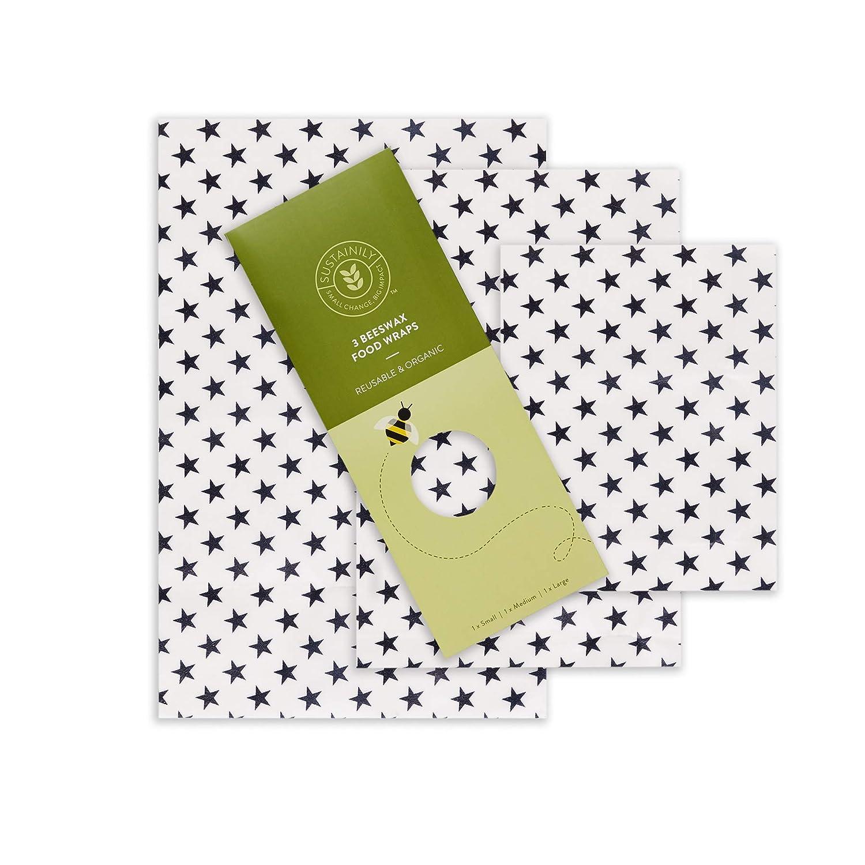 Enveloppe de cire d'abeille bio - Réutilisable, respectueuse de l'environnement, biodégradable, zéro gaspillage - Go Natural & Plastic Free - Ensemble étoile de petite taille et moyenne blanc