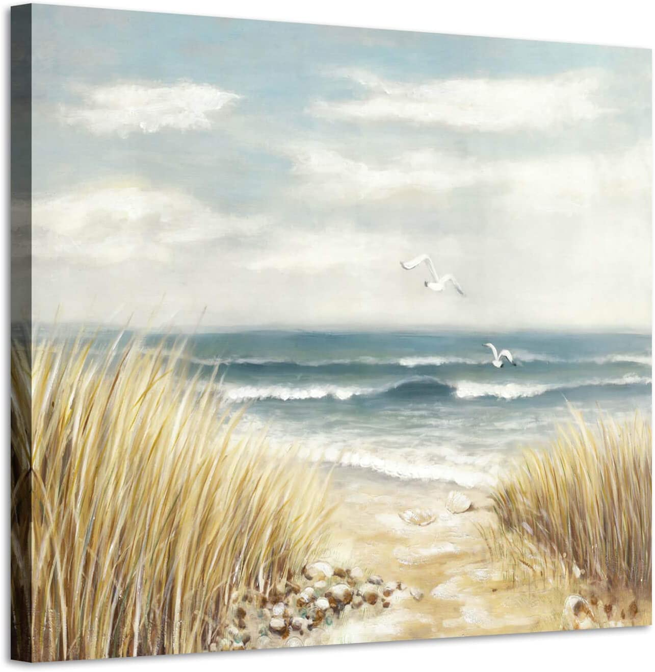 Abstract Beach Painting Wall Art: Seashore Artwork Hand Painted Coastal Picture on Canvas for Office (16