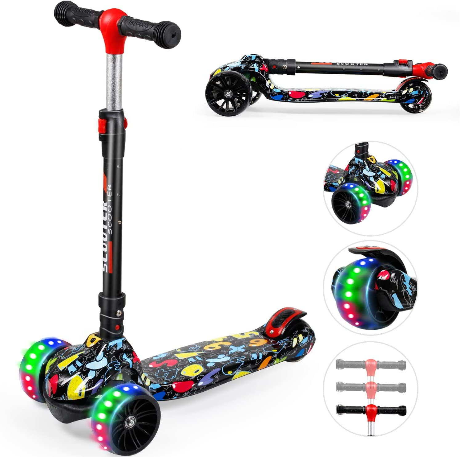 Kick Scooter for Kids 2-8 Year Old boy /& Girl YHR Toddler Scooter with 3 Wheel Extra-Wide PU LED Flashing Wheels 3 Wheel Kids Scooter Have 3 Adjustable Heights