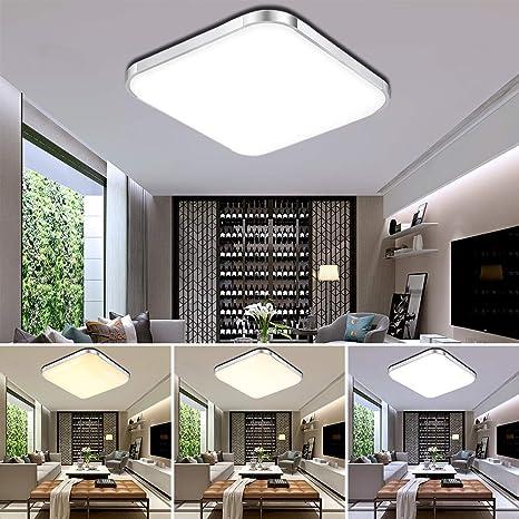 ETiME® 64W LED Deckenleuchte Dimmbar Deckenlampe Modern Wohnzimmer Lampe  Schlafzimmer Küche Panel Leuchte 2700-6500K mit Fernbedienung Silber  (65x65cm ...