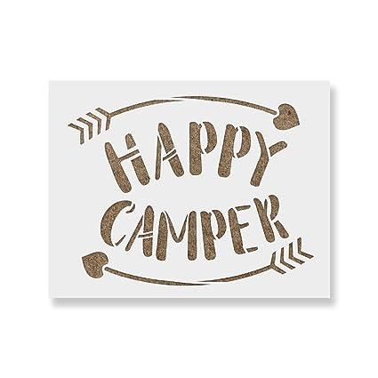 amazon com happy camper arrows stencil template for walls and