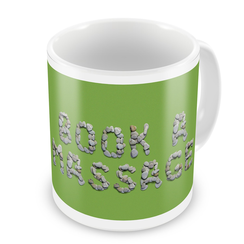 Coffee Mug Book A Massage Spa Stones Rocks - NEONBLOND