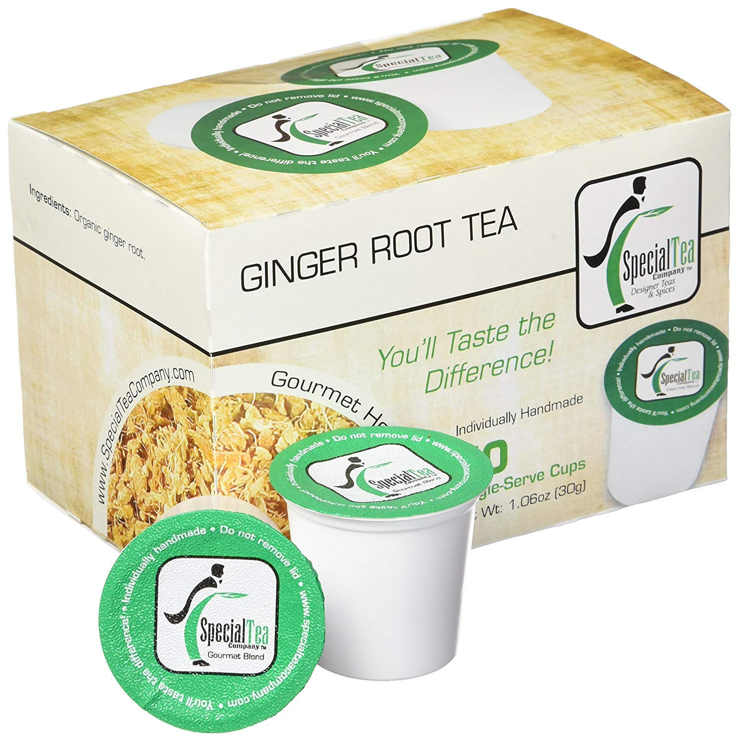 Special Tea Company Ginger Root, Single Serve Herbal Tea Pod (Pack of 10)