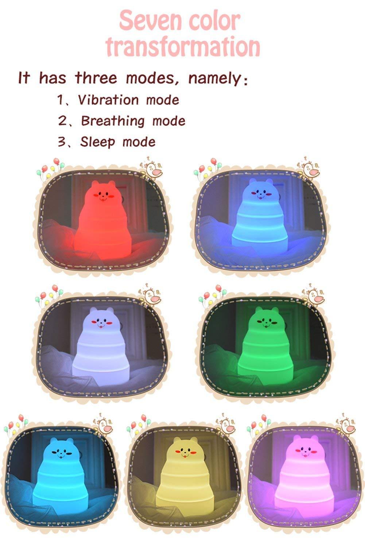 Color/é Lumi/ère de Nuit Mignon Lapin et Ours Portable Silicone LED Lampe de Bureau Enfants Nuit Lampe de chevet avec 9 Couleurs Changeantes pour B/éb/é//Chambre /à Coucher//Bureau Lapin