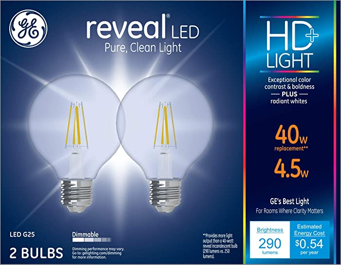 GE Lighting 31911 Clear Finish Light Bulb Dimmable LED Reveal HD G25 Decorative Globe 4.5 (40-Watt Replacement), 290-Lumen Medium Base, 2-Pack, 2