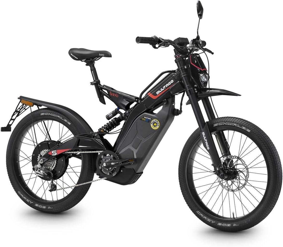 Bultaco. Brinco S. Motobici eléctrica negra para hacer cicloturismo, legal en carretera. Bicicleta de montaña. Bicicleta eléctrica. Bicilec veloz: Amazon.es: Deportes y aire libre