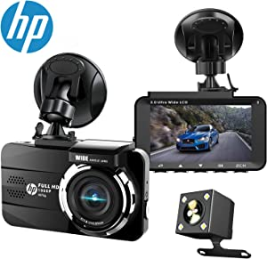 HP Dual Dash Cam Built-in GPS FHD 1080P Front Rear Dashboard Recorder with Sony Sensor, 3'' LCD Screen, 155° Wide Angle, G-Sensor, Loop Recording