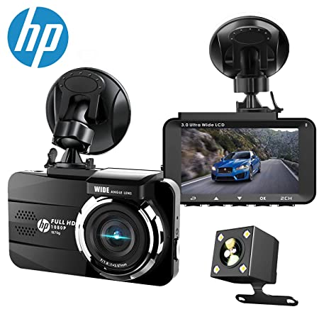 HP Dual Dash Cam Built-in GPS FHD 1080P Front Rear Dashboard Recorder with Sony Sensor, 3 LCD Screen, 155 Wide Angle, G-Sensor, Loop Recording