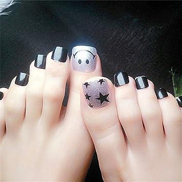 BloomingBoom 24Pcs Falsa Uña Dedo del Pie Completo Fake Nail Complets Impreso Manicura Nail Art Tips Pre Diseño ...