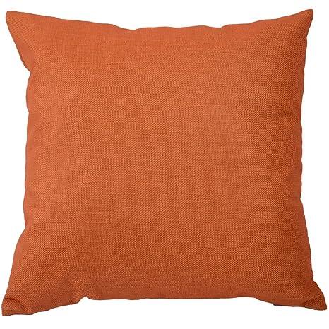Kate Naranja Simple Color Decorativo Mezcla de Lino y algodón Manta Funda de Almohada Cuadrado Funda de Almohada Funda de cojín 18 x 18 Pulgadas