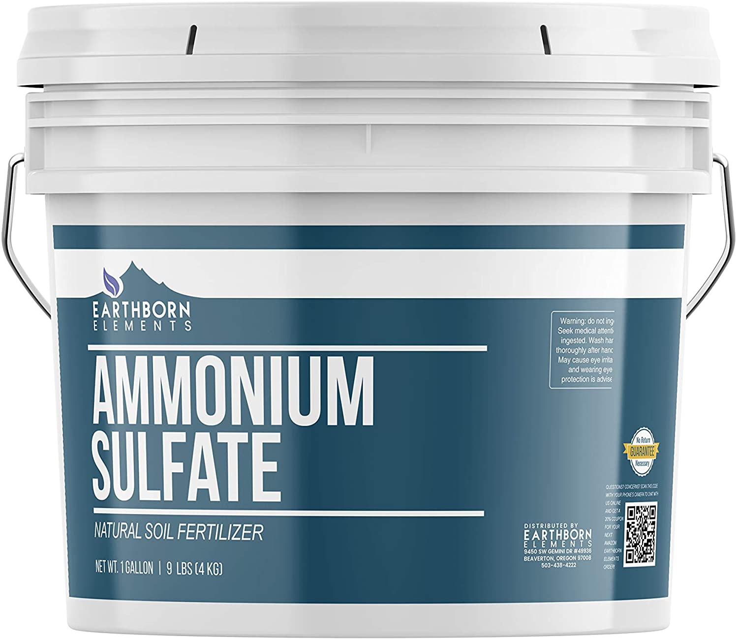 Ammonium Sulfate (1 Gallon Bucket, 9 lbs) by Earthborn Elements, Soil Fertilizer, Rich in Nitrogen, Lowers pH, Inorganic Salt, Improves Plant & Soil Quality, Agricultural Uses, Resealable Bucket