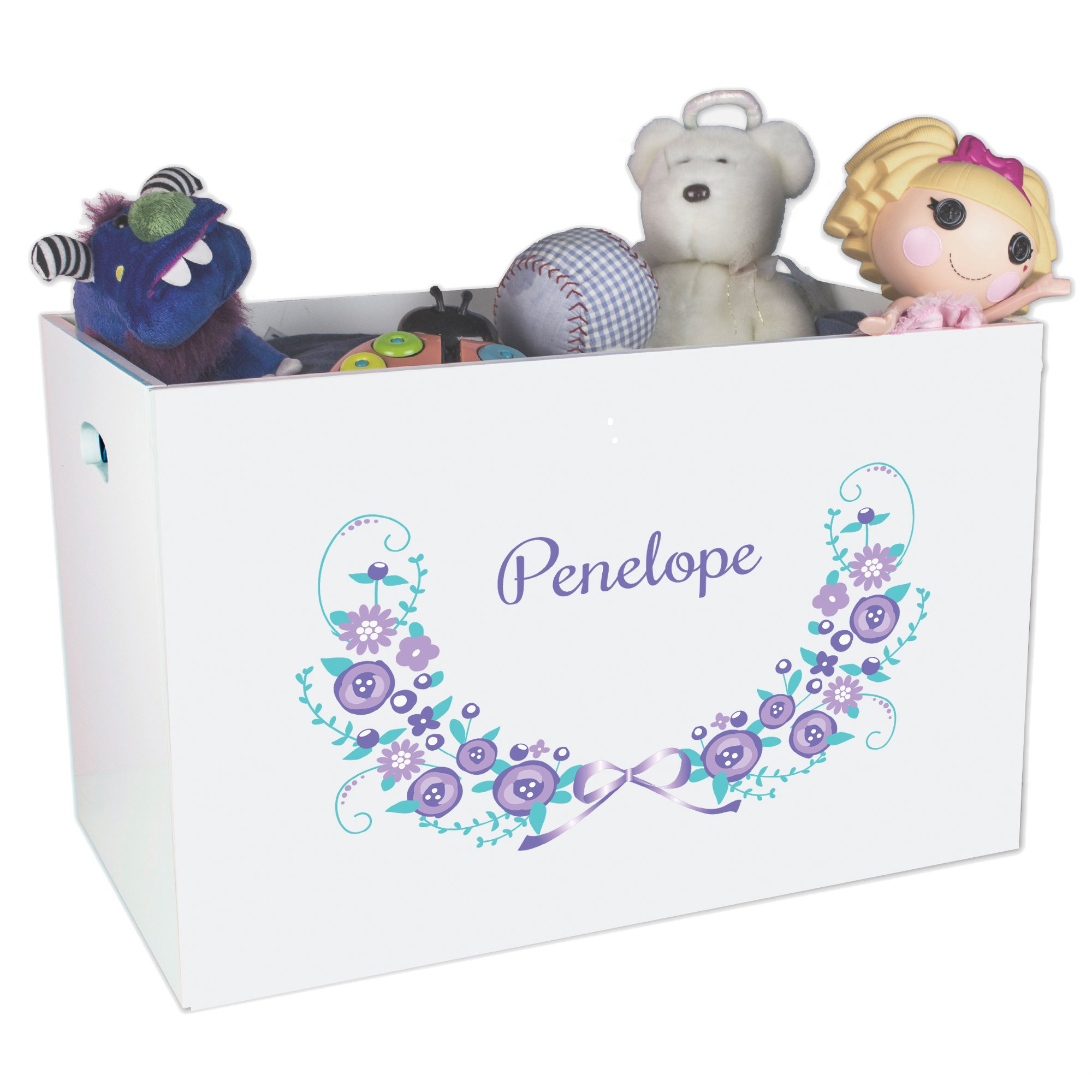 Personalized Gray Floral Garland Childrens Nursery White Open Toy Box