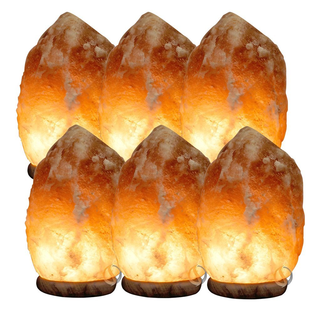 """SpiritualQuest Salt Lamp Pack, 6 Certified Himalayan Salt Crystals, XXL 12-15"""" / 13-18 lbs, with Sturdy Rose Wood Base, 15-Watt Light Bulb and Mood-Setting Dimmable and UL Approved Chord by SpiritualQuest"""