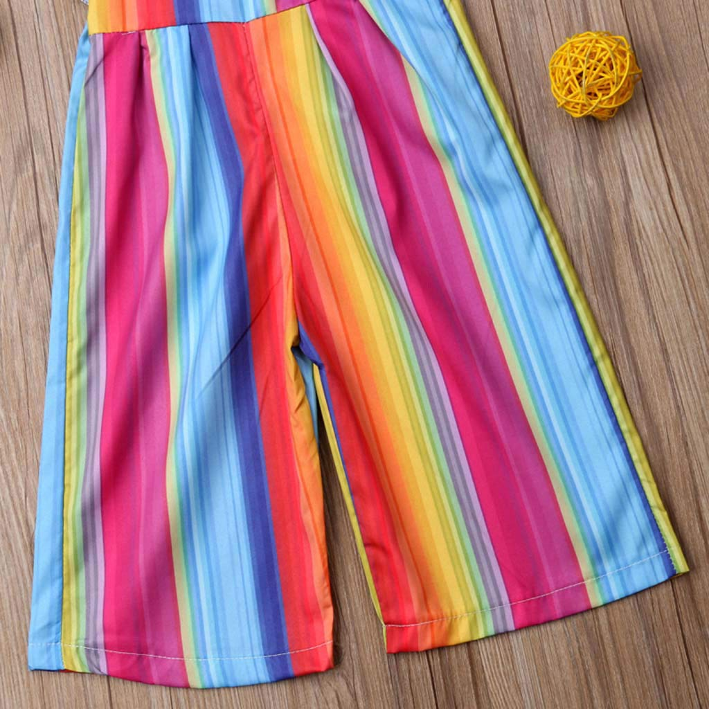 Hauzet Toddler Baby Kids Girls Summer Rainbow Backless Sling Romper Jumpsuits Sunsuit Clothes
