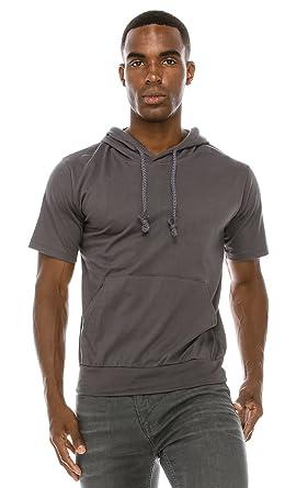 0149ddcfb Angel Cola Men's Short Sleeve Cotton Hoodie Shirts PT602 N.Dark Gray S