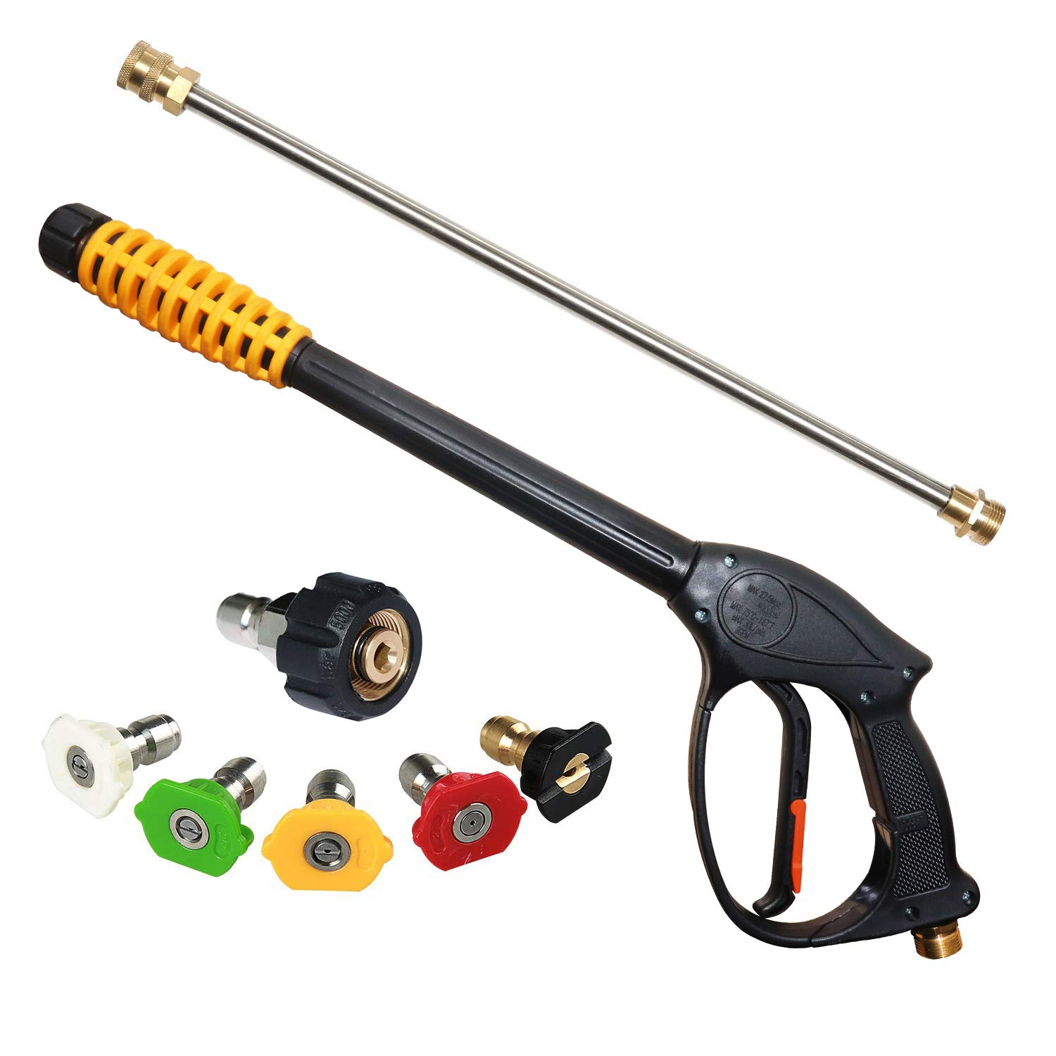 EDOU 4000 PSI High Pressure Power Washer Gun Power Spray Gun, 19 Inch Extension Replacement Wand Lance, 5 Quick Connect Spray Nozzles Tips by EDOU