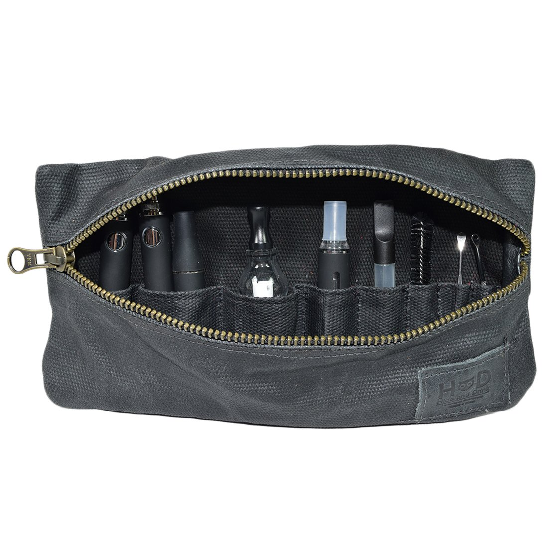 Waxed Canvas Vape Pen Accessories Kit Pouch Holder, Secure Fit, Cord Storage, G Pen Soft Travel Bag Handmade by Hide & Drink :: Charcoal Black