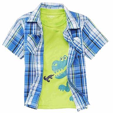 4f3ea7791 Amazon.com: Toughskins Boys 2 Piece Blue Plaid Shirt & Dragon T ...