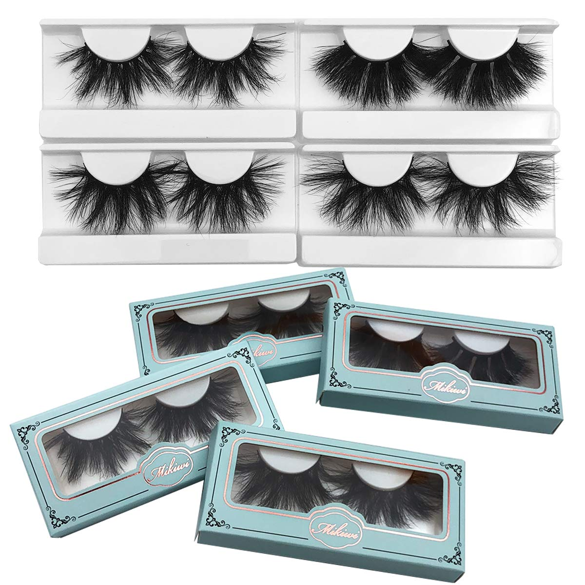 Amazon Com 25mm Mink Lashes Mikiwi Real Mink Lashes Thick Handmade Full Strip Lashes Crueltyl Free Fluffy Lash Luxury Makeup Dramatic 3d Mink Lashes 4 Pack B Beauty