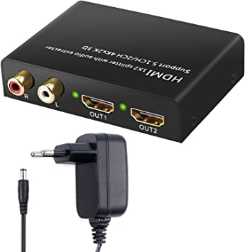 4Kx2K HDMI Convertidor Extractor de Audio Soportar 2CH / 5.1CH 3D HDMI a SPDIF Óptico Toslink
