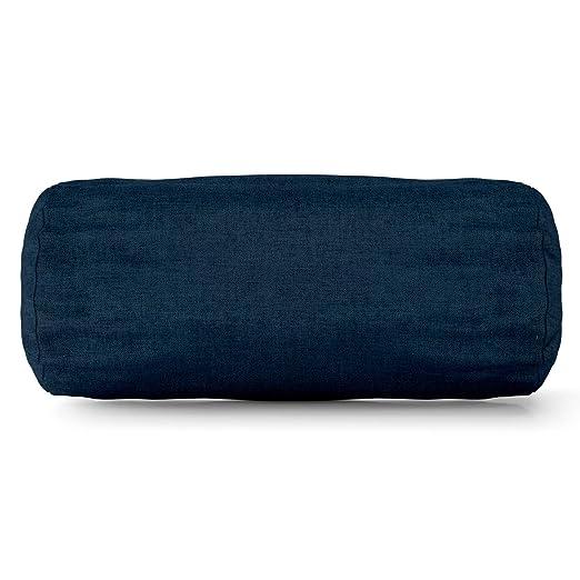 Majestic Home goods azul marino sólido cojín cilíndrico ...