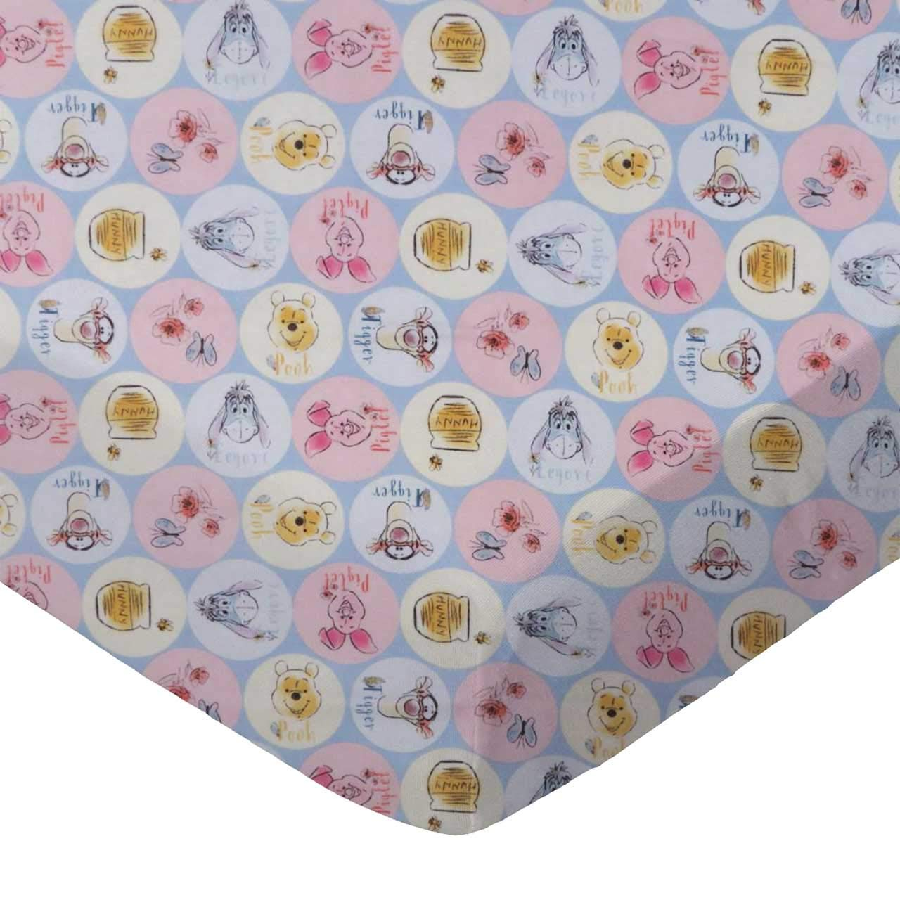 SheetWorld Fitted 100% Cotton Percale Pack N Play Sheet Fits Graco 27 x 39, Pooh & Friends Circles, Made in USA