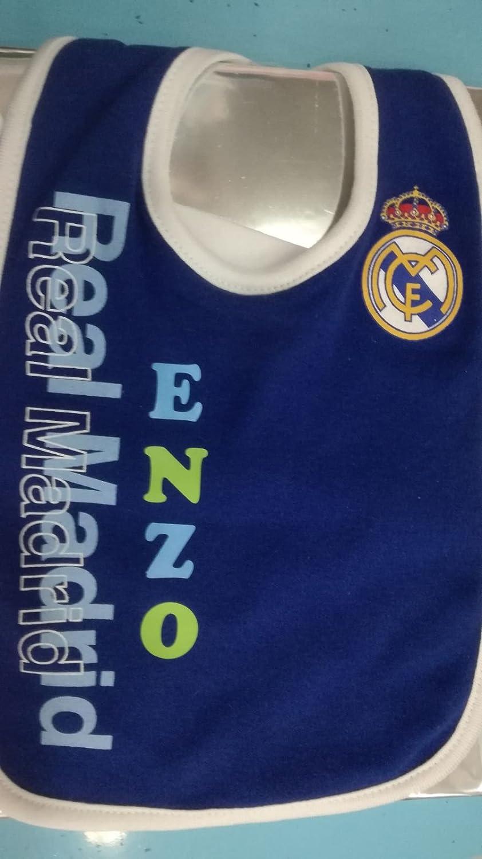TIENDACUCÚ /Babero Bebé Real Madrid personalizado con nombre/ COLOR AZUL